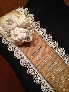 Pearls and lace customised bridal sash - Hen Party, Bachelorette, Bridal Shower