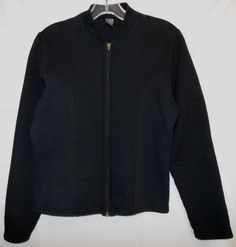 Hanes Black Zip Front Sports Jacket Size M Long Sleeve WARM #Hanes #CoatsJackets
