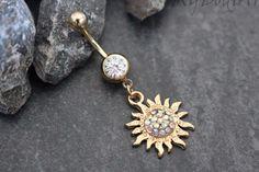 Nova Flaming Sun Gold Belly Ring