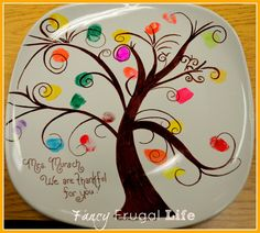 Finger Print Tree Plate (Kids Fall/ Thanksgiving Party) |
