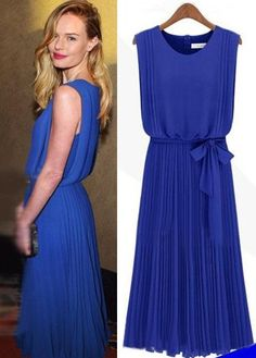 Morpheus Boutique  - Blue Chiffon Round Neck Sleeveless Pleated Celebrity Dress