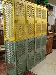 Antique Vintage Reclaimed Architectural Industrial Yellow or Blue Paint Cabinet Steel Metal Storage Locker (CALL for SHIP quote)