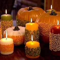 Fall crafts - pumpkins & candles with beans glued on them