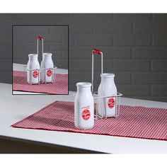 12467 RETRO RED CREAM BOTTLES AND CARRIER SET OF 3