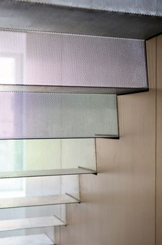 A gossamer ribbon of accordion-folded perforated stainless steel by Span Architecture via Interior Design Magazine Staircase Handrail, Stair Railing, Staircase Design, Railings, Upper East Side, Architecture Details, Interior Architecture, Stair Lift, Escalier Design