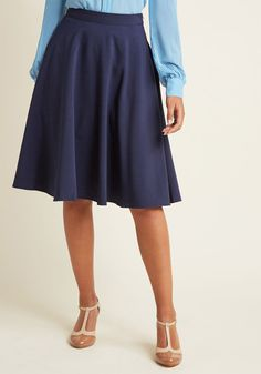 Just This Sway Midi Skirt in Navy in 1X - Full Skirt by ModCloth - Plus Sizes Available