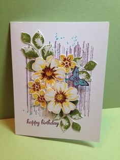 Stampin' Up! Flower Shop, Petite Petals, Papillion Potpourri, Grunged bouquet