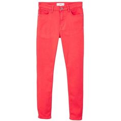 MANGO Soho skinny jeans (3.420 RUB) ❤ liked on Polyvore featuring jeans, coral red, high waisted jeans, skinny jeans, high-waisted jeans, zipper skinny jeans and super high rise skinny jeans