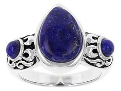 12x8mm Pear Shape And 3.5mm Round Cabochon Lapis Lazuli Sterling Silver Ring