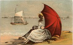 Vintage Seaside Parasol Image! - The Graphics Fairy