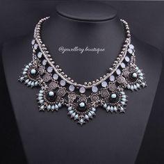 £14.99 Lilou Statement Necklace Choker Silver Diamante Bib Collar Zara Jewelry Pendant in Jewellery & Watches, Costume Jewellery, Necklaces & Pendants | eBay