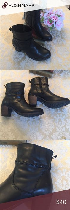 "Beautiful black leather boots Bought on Posh but have to sell as too high for me (foot issues). Gorgeous black, soft leather uppers, made in Portugal. Stacked heel measures 2-3/4"" and they are a snug fit. Boot shaft measures 6"" from top of heel. Worn a few times but in like new condition. Shoes Ankle Boots & Booties"