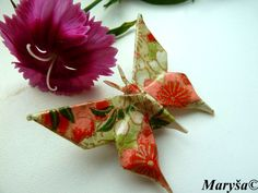 Origami Butterfly earrings in orange and green by MarysaArt