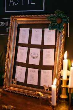 Large gold framed table plan - Image by Tarah Coonan - A Vintage Inspired DIY London Pub Wedding With Bride In A Handmade Silk Gown And Bridesmaids In Emerald Green With Groom In Tweed Suit By Marc Wallace