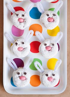 Doughnut Easter bunnies for the kiddies!  I would figure out something edible for the ears tho!