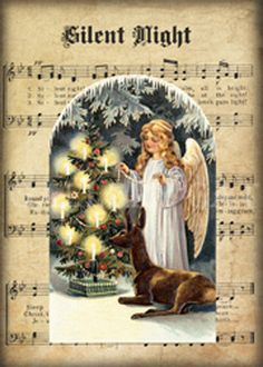 Idea - Christmas sheet music with silhouette of nativity of top.