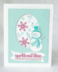 Stampin Up Handmade Christmas Card Kit: Joyous Season Snowman
