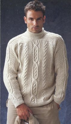 MADE TO ORDER Sweater turtleneck men hand knitted sweater cardigan pullover men clothing handmade men's knitting aran cabled crewneck Hand Knitted Sweaters, Sweater Knitting Patterns, Hand Knitting, Cable Sweater, Men Sweater, Sweater Cardigan, Knitwear Fashion, Hats For Men, Free Pattern