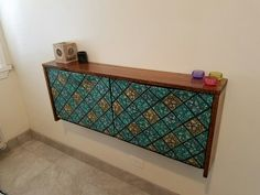 14 a retro-inspired IKEA Trones shoe cabinet with a rich-colored wooden tabletop and colorful contact paper doors - DigsDigs Ikea Hacks, Trones Ikea Hack, Small Storage, Diy Storage, Storage Spaces, Storage Ideas, Ikea Shoe Cabinet, Small Entryways, How To Store Shoes