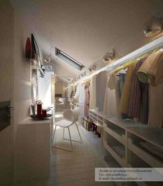 Holy Moly- awesome walk in closet for attic. Love the lighting and built in vanity. Great use of low ceiling space. Holy Moly- awesome walk in closet for attic. Love the lighting and built in vanity. Great use of low ceiling space. Attic Loft, Loft Room, Attic Rooms, Attic Spaces, Closet Bedroom, Attic Office, Garage Attic, Attic Library, Attic Ladder