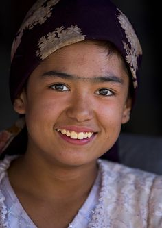 Smiling Young Uyghur Woman, Yarkand, Xinjiang Uyghur Autonomous Region, China