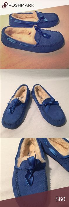 UGG Dakota Exotic Scales Moccasin Slippers Pretty marine blue color. In excellent condition with no exterior or interior signs of wear. Bottoms are slightly dirty but that's all. UGG Shoes Moccasins