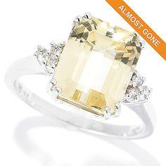 167-280 - Gemporia 14K White Gold 5.12ctw Canary Spodumene & Diamond Ring