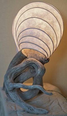 driftwood and paper lamp