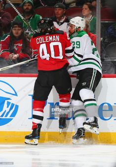 Blake Coleman of the New Jersey Devils and Greg Pateryn of the Dallas Stars  come together 879b46ddf