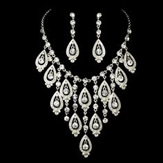 Elaborate Silver Wedding Jewelry Set