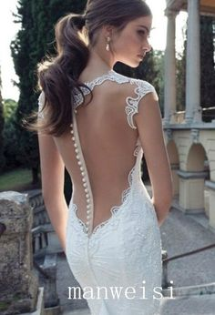 Berta Glamorous Custom V-neck  Open Back  Wedding  Dress  Gown With Beads Lace