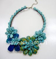 Amazing!!!!! Fashion Jewelry Handmake Wire Wrap Turquoise and agate Necklace Set Fit Party Wedding Gift