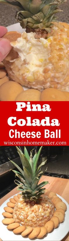 If you love the thought of tropical drinks especially, if they're poured into a pineapple, then you'll love this inspired recipe that recreates this experience in a party-favorite dessert: Pina Colada Cheese Ball. from WisconsinHomemake. Dried Banana Chips, Dried Bananas, Side Dish Recipes, Snack Recipes, Side Dishes, Dessert Cheese Ball, Cheese Ball Recipes, Balls Recipe, Appetizer Dips