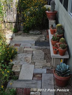 Want this patchwork walkway pretty hard, too. Want this patchwork walkway pretty hard, too. Garden Club, Garden Cottage, Garden Bar, Stone Walkway, Stone Pathways, Paver Walkway, Walkways, Back Gardens, Succulents Garden