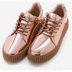 SheIn(sheinside) Rose Gold Patent Leather Rubber Sole Sneakers ($39) ❤ liked on Polyvore featuring shoes, sneakers, tenis, zapatos, round cap, lacing sneakers, lace up shoes, rose gold sneakers and round toe sneakers