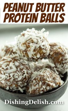 Quick and easy, no bake Peanut Butter Protein Balls are a healthy and yummy snack that's great for those on the go days. Best Gluten Free Recipes, Gluten Free Recipes For Dinner, Gluten Free Snacks, Quick Snacks, Yummy Snacks, Real Food Recipes, Healthy Snacks, Healthy Breakfasts, Yummy Appetizers