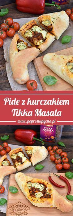 Pide z kurczakiem Tikka Masala - Po Prostu Pycha Korma, Mozzarella, Chili, Curry, Pizza, Ethnic Recipes, Brot, Curries, Chile