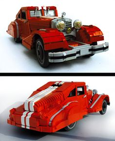 Awesome Lego art:  A Classy Car: Mercedes-Benz 540K  Vibor Cavor's newest model is a fiery red model of a classic luxury sedan, the Mercedes-Benz 540K. The large scale of this model allowed Vibor to do justice to the small details on this spiffy vehicle. I particularly love the way he designed the grill, and the hood ornament is quite perfect. Most impressively, though, he's managed to pack in a full interior, including engine, passenger, and luggage compartments.  I love Legos!
