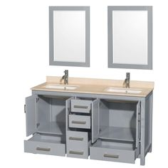 Wyndham Collection WC-1414-60-DBL-VAN Installing Cabinets, Bath Store, Marble Countertops, Double Vanity Bathroom, Wyndham Collection, Vanity, Rectangular Sink, Soft Close Drawer Slides, Countertops