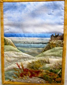 """On Saturday I went to a local quilt show with DD. The show was the second """"Quilt. - On Saturday I went to a local quilt show with DD. The show was the second """"Quilts in the Wolds"""" - Ocean Quilt, Beach Quilt, Watercolor Quilt, Landscape Art Quilts, Landscape Edging, Fiber Art Quilts, Fabric Postcards, Miniature Quilts, Textiles"""
