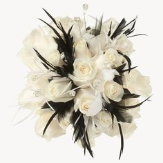 Bridal bouquet with roses and black feathers; I do not like black feathers but replace them with your own color scheme if its a darker color. Love!