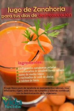 6 a 8 zanahorias, 1 cucharadita gengibre, zumo de 1 limón, 1 cucharadita de miel abeja, y 4 cubitos de hielo.