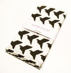 Black Origami Birds Napkin Set