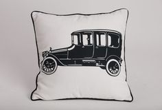 "Vintage Car Print Cushion (infill included)    Product Information  Size: 18"" X 18""  Material: Cotton  Color: Black and White"