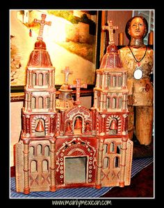 PERSONAL COLLECTIONS - FOR SALE - MAINLY-MEXICAN - huge old church by Heron Martinez Mendoza - we love the many churches of Mexico - Happy Semana Santa from Mainly Mexican