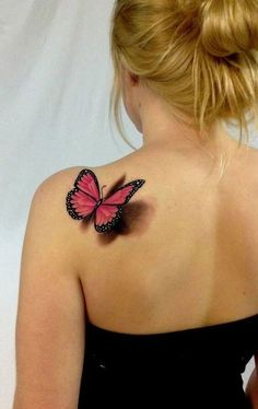 Choosing a tattoo that is appropriate for you can be very daunting. There are so many options, and no one wants to regret a tattoo afterwards. For butterfly tattoo ideas that come to life on the skin, this pink design is ideal. The detailed tattoo is positioned on the shoulder at an angle which makes the butterfly appear like its about to take flight.