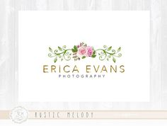 Floral Logo Design Photography Logo Events Logo Stamp Logo Watercolor Logo Boutique Logo Shabby Chic Logo