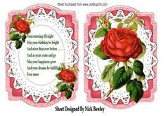 Red rose on lace bracket card and insert verse on Craftsuprint - Add To Basket!