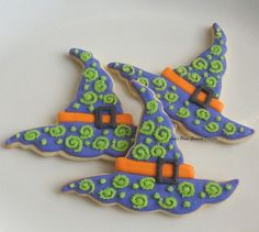 Witch Hat Cookies  Halloween Cookies  Decorated by lorisplace
