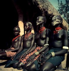 Africa | Sudan. Kordofan. The Nubas. Dinka and Nuer girls dressed for ceremonial dance. 1949. | © George Rodger